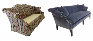 before-after velvet sofa
